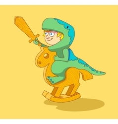 Little Boy riding a wooden horse vector image
