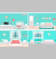 living room interiors set bedroom and hall design vector image vector image