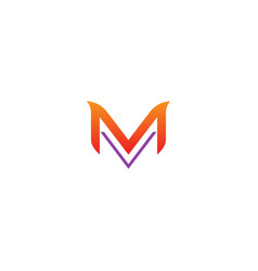 m initial line logo vector image