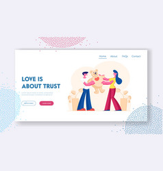 man and woman in love relation website landing vector image