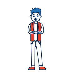 man character standing with folded arms vector image