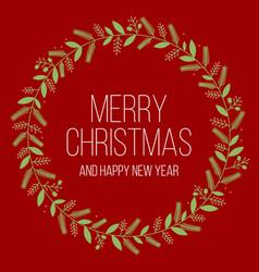 Merry christmas in mistletoe frame vector