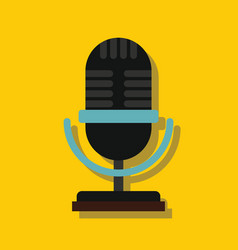 microphone in flat style with shadow vector image