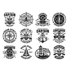 Nautical set of twelve vintage emblems vector
