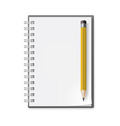 notebook with pencil on white background for vector image