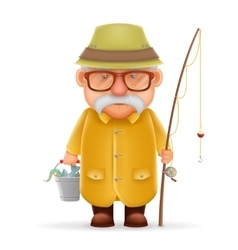 Old Fisherman Grandfather 3d Realistic Cartoon vector