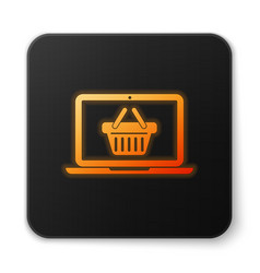 orange glowing shopping basket on screen laptop vector image