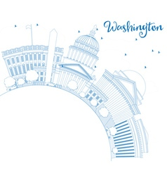 Outline Washington DC Skyline with Blue Buildings vector image