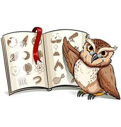 Owl beside the book vector