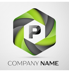 P Letter colorful logo in the hexagonal on grey vector