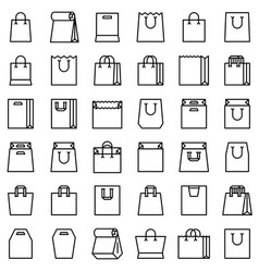 Paper bag icon set line style vector