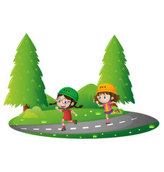 Park scene with two girls skating on road vector