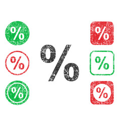 percentage icon shape round and square button set vector image