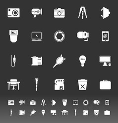Photography related item icons on gray background vector image