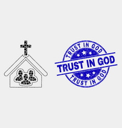 Pixel church people icon and distress trust vector