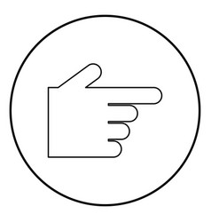 pointing hand icon black color in circle round vector image