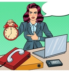 Pop Art Business Woman Holding Alarm Clock vector image
