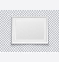 Realistic horizontal white photo frame isolated on vector