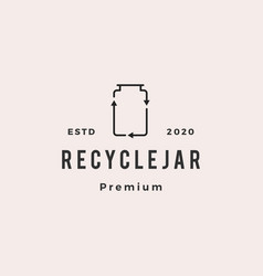recycle jar glass logo hipster vintage retro icon vector image