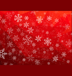 red abstract christmas background with snowflakes vector image