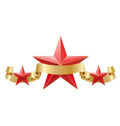 Red star with golden ribbon vector