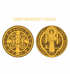 Saint benedict medal gold vector