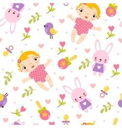 Seamless girl baby pattern vector