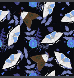 seamless pattern with moths for fabric vector image