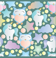 Seamless pattern with owls unicorn and stars vector