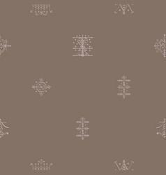 Seamless pattern with veve voodoo symbols vector