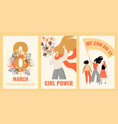 set cards for international womens day vector image