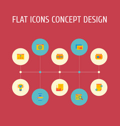 Set development icons flat style symbols vector