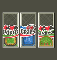 set gambling layouts vector image