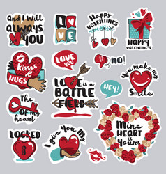 Set love stickers for social network vector