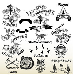 Set of outdoor camping and mountains typography vector
