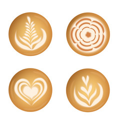 set with realistic coffee latte art top view vector image