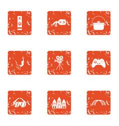 short film icons set grunge style vector image