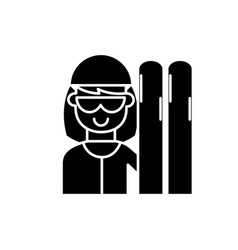 skier black icon sign on isolated vector image