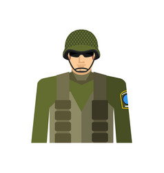 soldier portrait military in protective helmet vector image