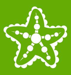 starfish icon green vector image