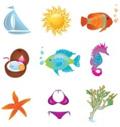 Summer objects set vector