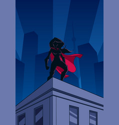 superheroine roof watch silhouette vector image