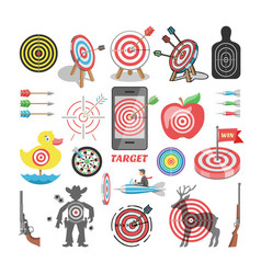 Target icon arrow in aim dartboard and vector
