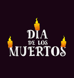 Text dia de los muertos with burning candles on vector