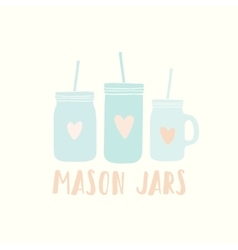 Three different mason jars vector image