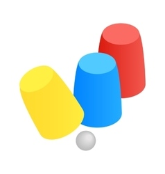 Three game thimbles with a ball isometric 3d icon vector image