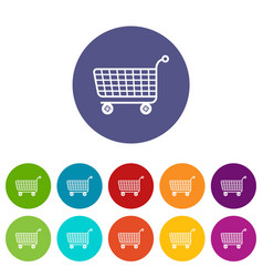 trolley icons set color vector image