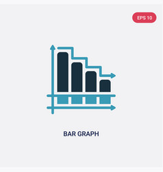 Two color bar graph icon from productivity vector