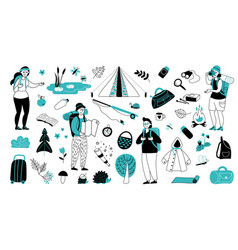 vacation characters travelling suitcase vector image