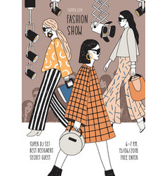 vertical flyer or poster template for fashion show vector image